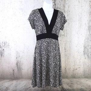 Black  White Surplice Tie Waist Empire Waist Dress